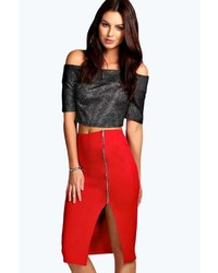 Boohoo Lindy Zip Side Pencil Midi Skirt
