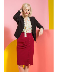 Celinesinjin Enterprises Inc A Trip Into Town Pencil Skirt In Cherry