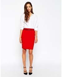 Asos Collection Belted Pencil Skirt With Seam Detail