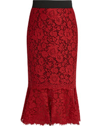 Dolce & Gabbana Cordonetto Lace Fluted Hem Pencil Skirt