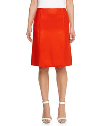 Stella McCartney Knee Length Wool Skirt Red