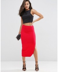 Asos Longer Length Midi Pencil Skirt With Thigh Split