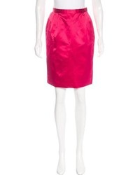 Oscar de la Renta Satin Pencil Skirt
