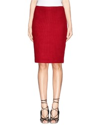 Nobrand Textured Wool Blend Knit Pencil Skirt