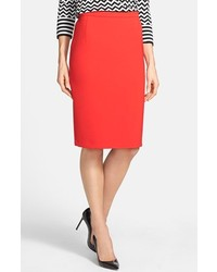 Weekend Max Mara Osso Two Way Stretch Knit Pencil Skirt Red 12