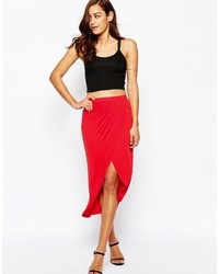 Asos Wrap Midi Pencil Skirt In Jersey