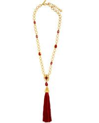 Oscar de la Renta Crystal Embellished Pendant And Tassel Necklace