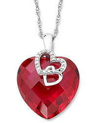 jcpenney Fine Jewelry Lab Created Ruby Diamond Accent Heart Pendant Sterling Silver Necklace