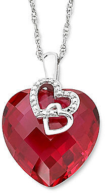 Jcpenney fine jewelry lab created ruby diamond accent heart pendant jcpenney fine jewelry lab created ruby diamond accent heart pendant sterling silver necklace aloadofball