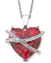 jcpenney Fine Jewelry Lab Created Ruby White Sapphire Crossover Heart Pendant Necklace In Sterling Silver