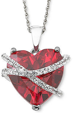 ... jcpenney Fine Jewelry Lab Created Ruby White Sapphire Crossover Heart Pendant Necklace In Sterling Silver