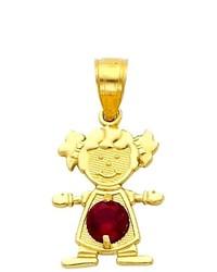 Goldenmine 14k Yellow Gold January Cz Birthstone Girl Charm Pendant