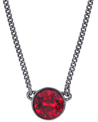 Givenchy Hematite Tone And Red Stone Pendant Necklace