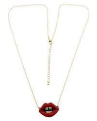 Lips Fashion Pendant Necklace With Stones Goldred