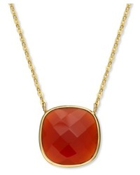 Macy's 14k Gold Over Sterling Silver Necklace Red Onyx Cushion Cut Pendant