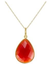 Macy's 14k Gold Over Sterling Silver Necklace Red Onyx Pear Briolette Pendant