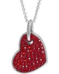 Silver Plated Crystals Heart Pendant Redsilver