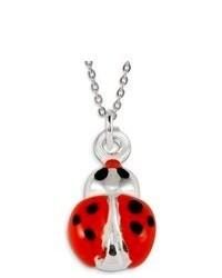 VistaBella 925 Sterling Silver Red Black Enamel Lady Bug Pendant