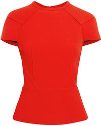 Cymatia stretch crepe peplum top red medium 3723686