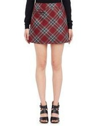 Red Plaid A-Line Skirt