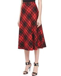 Michael Kors Fairfax Plaid A Line Skirt Blackcrimson Michl Kors
