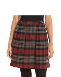Woolrich Plaid Pleated Wool Blend Skirt