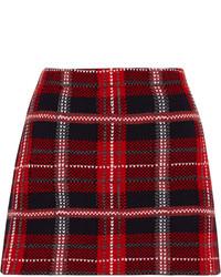 Miu Miu Tartan Wool Tweed Mini Skirt