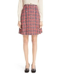 Gucci Tiger Button Tweed A Line Skirt