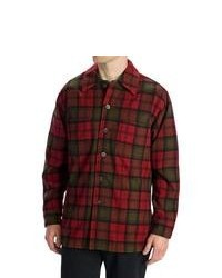 Options Log Cabin Plaid Shirt Jacket Wool Long Sleeve Redblack