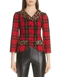 Michael Kors Genuine Calf Hair Trim Tartan Wool Blend Jacket