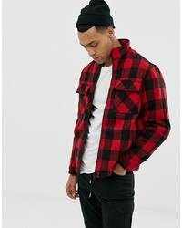 YOURTURN Checked Jacket In Red With Funnel Neck