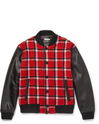 Marc by Marc Jacobs Plaid Wool Blend And Leather Bomber Jacket