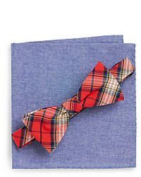 Original Penguin Frankie Plaid Bow Tie Chambray Pocket Square Set