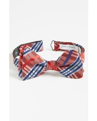 Ted Baker Traditional Grid Plaid Pattern Bow Tie Redgreen