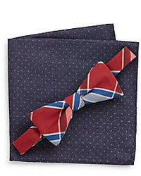 Original Penguin Plaid Bow Tie Polka Dot Pocket Square Set
