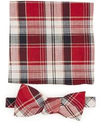 Plaid bow tie w pocket square medium 378940