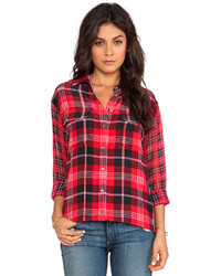 Red Plaid Button Down Blouse
