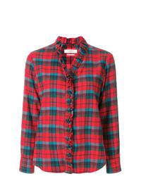 Isabel marant toile ruffle trim plaid shirt medium 7784174