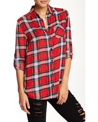 Plaid print hi lo button up blouse medium 345722