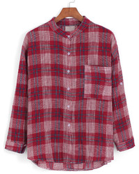Stand collar plaid pocket red blouse medium 345719