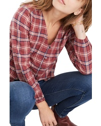 Madewell Stratfield Plaid V Neck Shirt