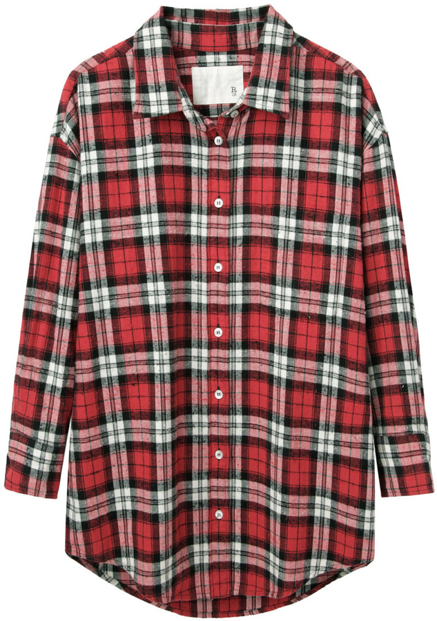 R 13 R13 Oversized Flannel Shirt