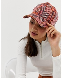 ASOS DESIGN Red Check Cap