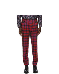 4SDESIGNS Red Plaid Inverted Pleat Trousers
