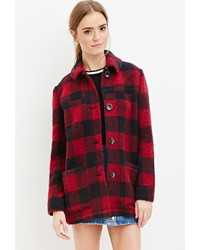 Forever 21 Buffalo Plaid Wool Blend Coat