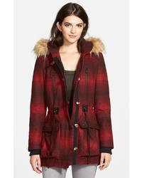 Steve Madden Red Stripe Hooded Duffle Coat With Faux Fur Trim