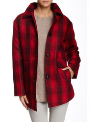 Wool blend shirting plaid coat medium 352299