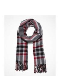 Express Plaid Fringed Scarf Red