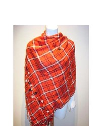 selection privee Amina Red Floral Plaid Wool Scarf