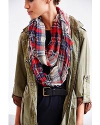 Uo shredded plaid eternity scarf medium 117958